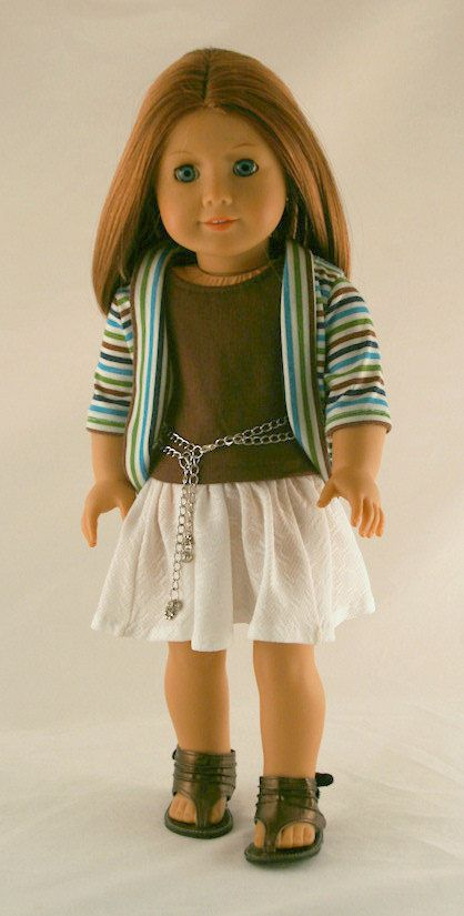 American Girl Doll Clothes - Stripe Jacket, White Knit Skirt, Brown Tank, and Chain Belt