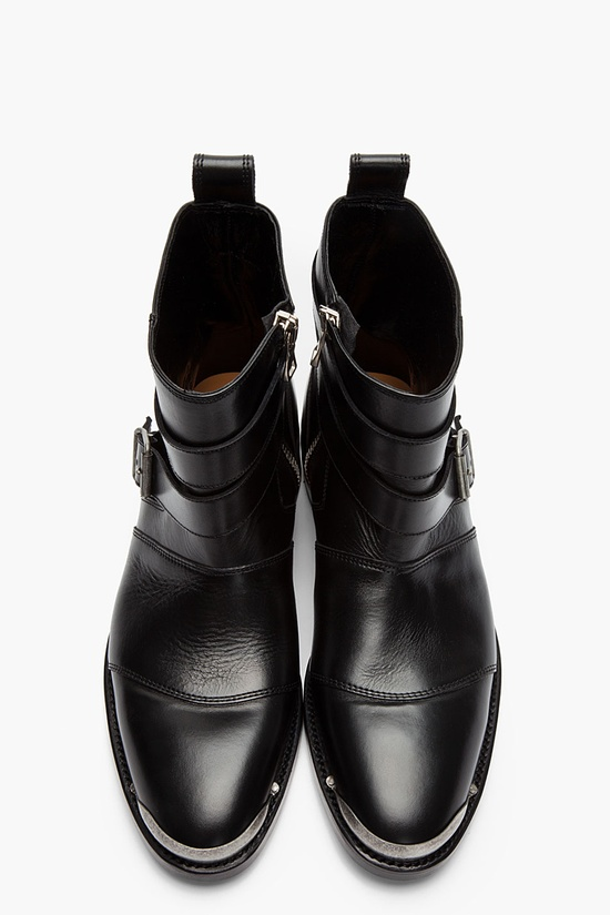 Balmain Black Leather Steel Capped Buckled Boots