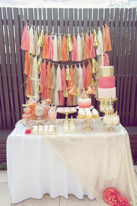 Orange, pink, & gold 1st birthday party via Kara's Party Ideas karaspartyideas.com #1st #first #girl #orange #pink #gold #birthday #party  #ideas
