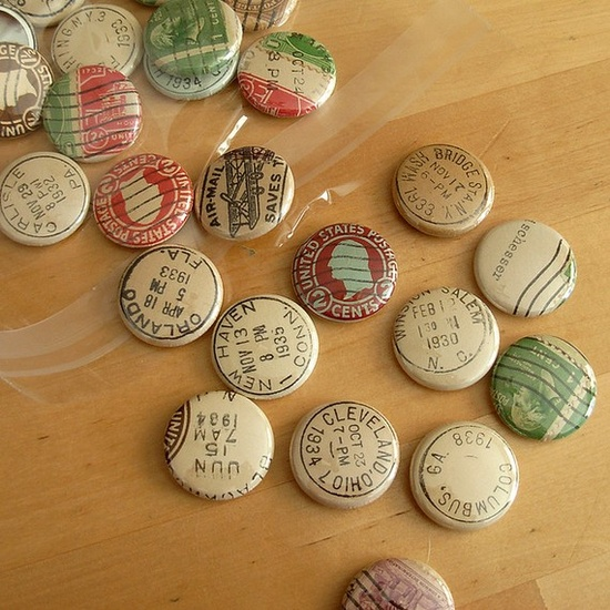 """Vintage Postmark and Postage Stamp Buttons"" by donovanbeeson"