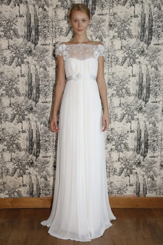 An off-shoulder gown is a great way to cover up arms while showing off a great collarbone. From Temperley London's dreamy spring 2013 collection. From Temperley London's dreamy spring 2013 collection