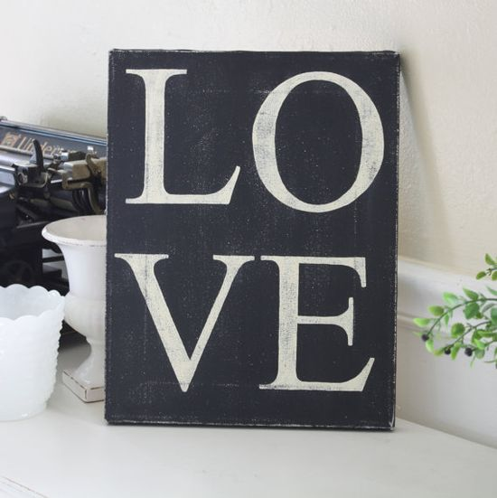 Valentine's Day Love Canvas by LejardinMarket on Etsy, $24.00