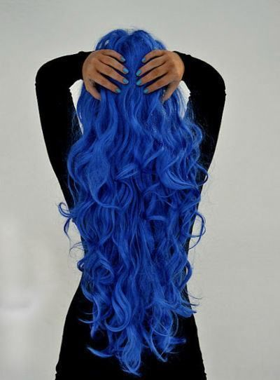 blue dyed hair