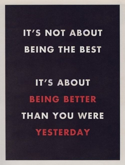 It's not about being the best. It's about being better than you were yesterday!