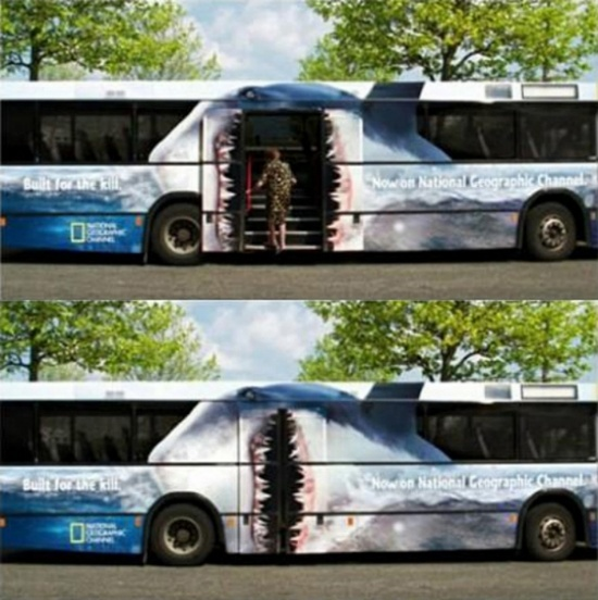 Awesome National Geographic ad on a bus wrap.  One of our favorite funny ads at masterpieceadvert...