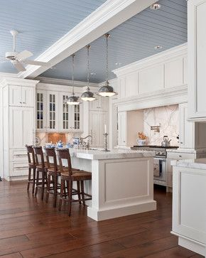 Like the ceiling beam separating the kitchen space.  Like the color of the wood floors.  Would probably go a shade lighter.    White Marble Kitchen - traditional - kitchen - indianapolis - SANTAROSSA MOSAIC & TILE CO INC