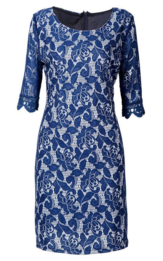 Blue Half Sleeve Embroidery Bodycon Lace Dress - Sheinside.com