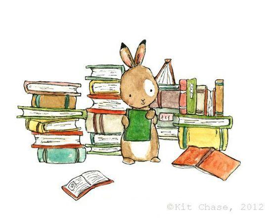 Book Bunny  8x10 Archival Print  Children's by trafalgarssquare, $20.00