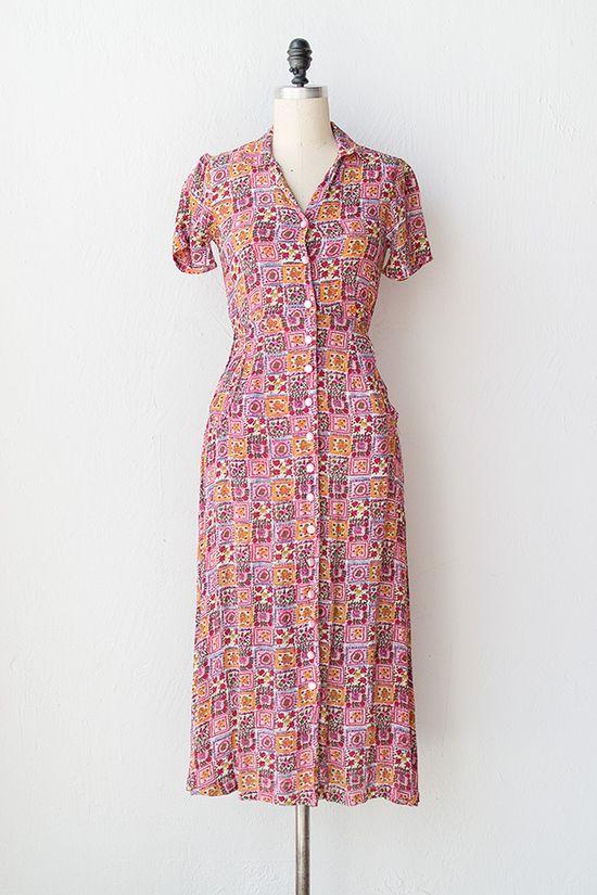 vintage 1940s pink stamp print day dress