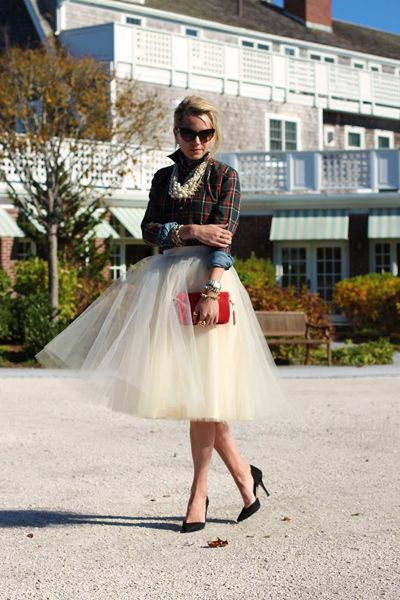 Love the red gingham combo with the Chambray and tulle skirt.