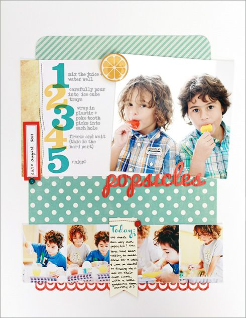 Popsicles #scrapbook #layout #simple #colorful