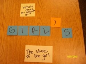 post-its for possessive nouns--better stock up! ;)
