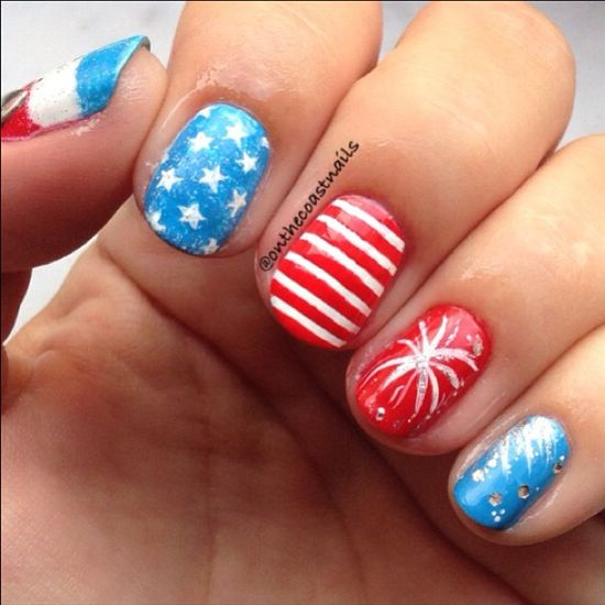 onthecoastnails' festive tips. Show us your 4th of July-inspired nails! Tag your pic #SephoraNailspotting to be featured on our social sites. #sephora #nails