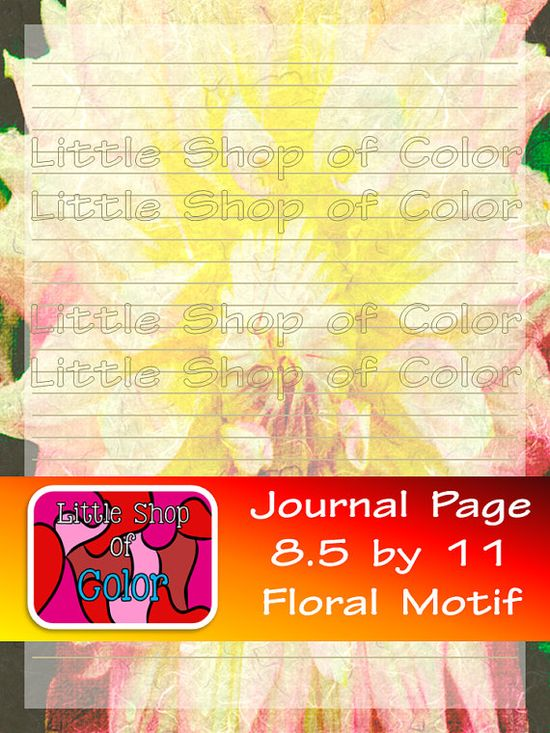 Printable Journal Page Flower Motif 8.5 x 11 by LittleShopofColor, $2.00