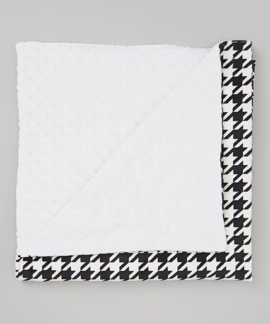 Take a look at this Lolly Gags Houndstooth & White Minky 30'' x 30'' Blanket on zulily today!