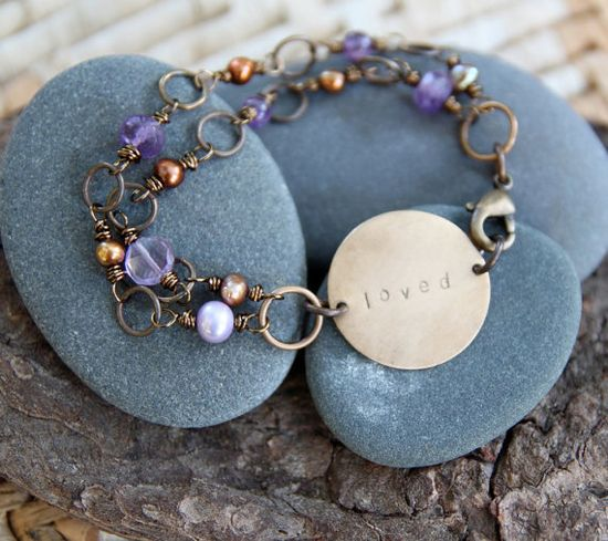 loved . a hand stamped soul mantra bracelet by lizlamoreux on Etsy