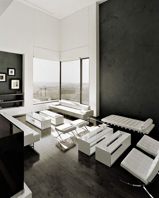 Minimalist interior with black + white