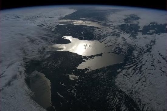 """Unusual perspective of the Great Lakes."" Chris Hadfield from the International Space Station."