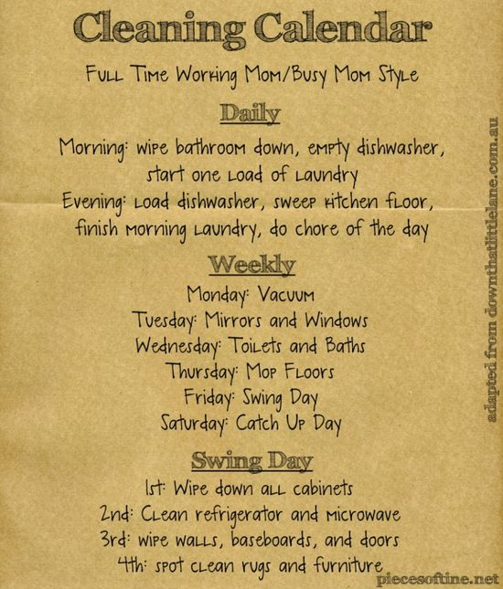 Cleaning Calendar For Busy Parents