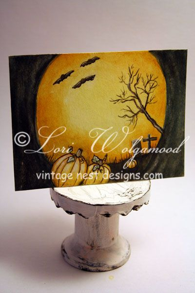ACEO - Moonlit Pumpkins - Halloween Watercolor Print  Vintage Nest Designs, Creative Handmade and Hand Painted Designs