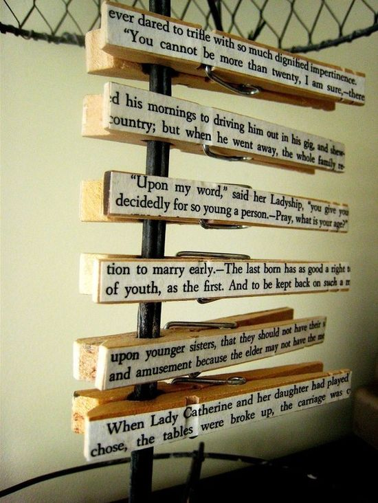 Clothespins with words, sealed on both sides.
