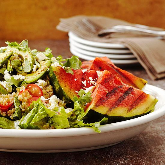 Try our nutrition-packed Grilled Watermelon Salad, which features quinoa, veggies, creamy avocado, and, of course, refreshing watermelon. More watermelon recipes: www.bhg.com/... #myplate