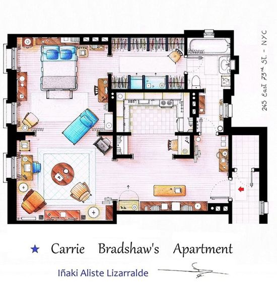 Carrie Bradshaw's Apartment.  Website also has Friends, Golden Girls, etc. layouts.