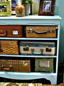 Suitcase dresser – dresser found on the side of the road missing all drawers. – suitcases collected over time from various yard sales and flea markets. We use this piece in our guest room to store seasonal items and craft supplies.