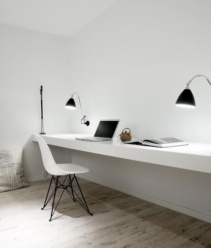 White + modern - LOVE this for our office! Just needs some natural light from the roof.
