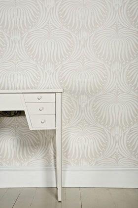 Wallpaper Love. Farrow and Ball Lotus pattern. -via Interior Canvas