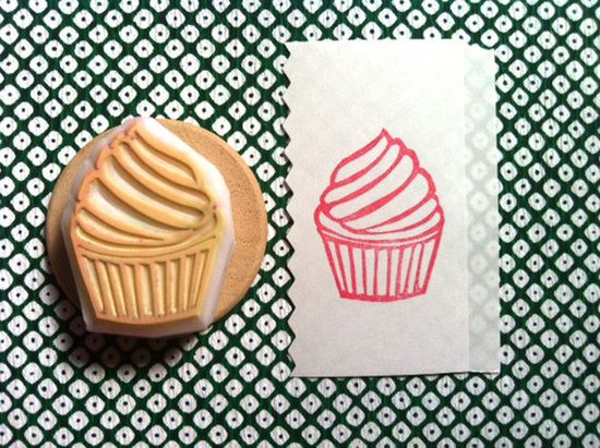 cupcake hand carved rubber stamp - hand carved stamp  - mounted - no4. $9,00, via Etsy.