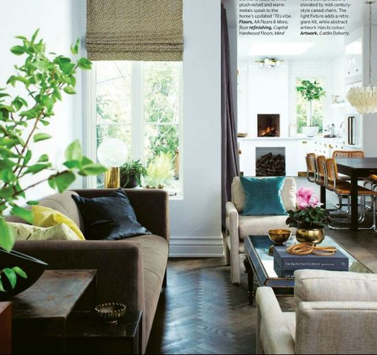 chevron flooring. velvet sofa. from the home w/my fave kitchen