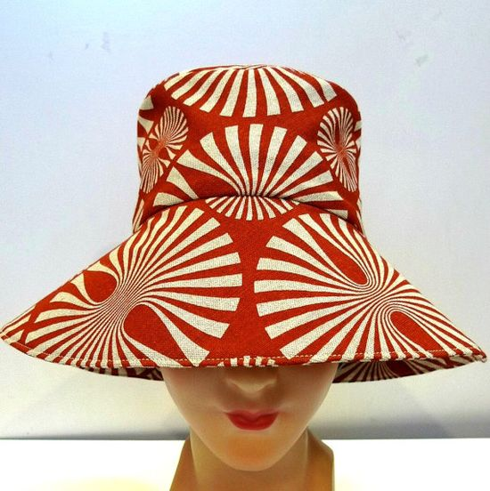 Retro Sun Hat in Burnt Orange Pinwheel Linen  by bonniesknitting, $55.00