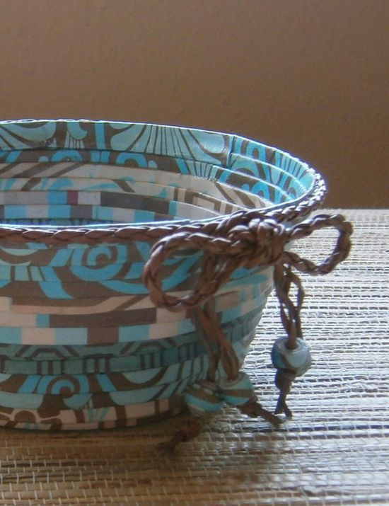 Handmade Paper Basket  Teal/Brown Small