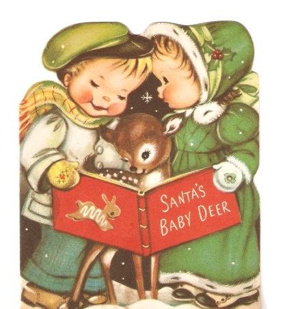 Children and Baby Deer Vintage Christmas Card