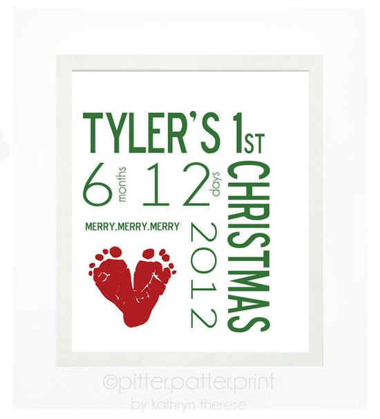 Babys First Christmas Decoration Personalized Wall Art - Baby Name Wall Decor in Red & Green Footprint - Christmas Gift for Grandma. $30.00, via Etsy.