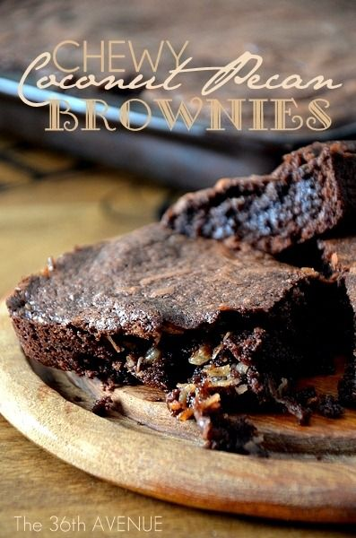 Chewy Coconut Pecan Brownies. So delicious! #recipes #desserts