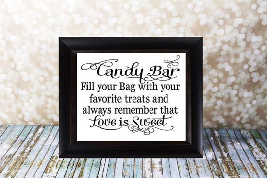 Candy Bar or Candy Buffet Wedding Sign by OurHobbyToYourHome