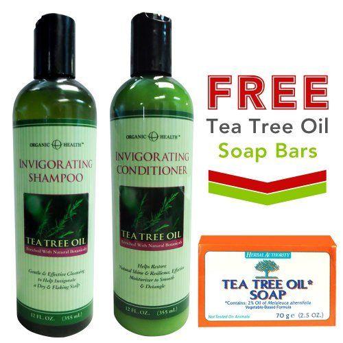 Organic Health Invigorating Tea Tree Oil Shampoo & Conditioner + FREE Tea Tree Oil Soap Bars by Herbal Authority by Organic Health, www.amazon.com/...