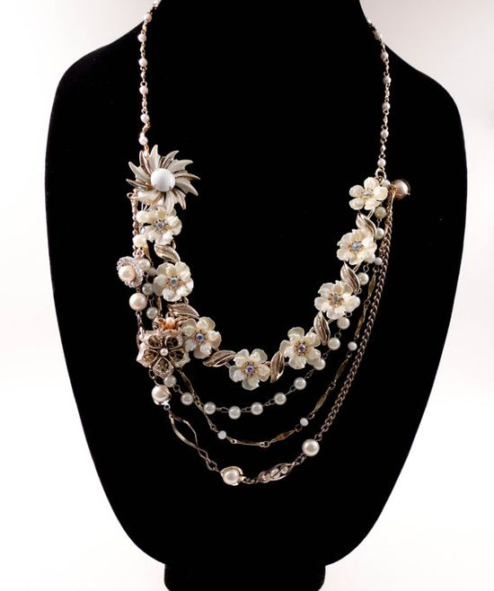 Snow Flowers Repurposed Vintage Jewelry Statement by Modulation, $65.00