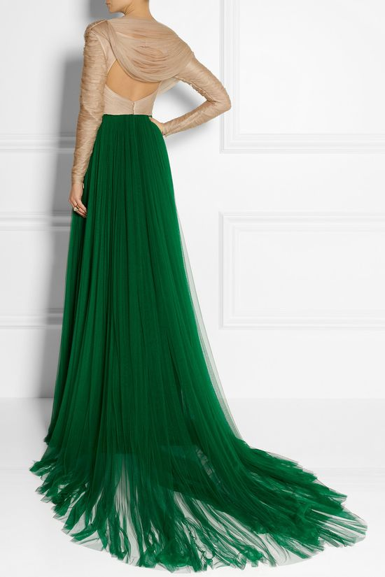 Emerald green ruched silk-blend tulle gown. #coloroftheyear