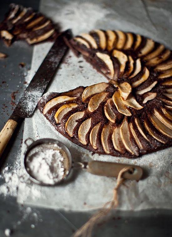 chocolate amaretto pear tart.