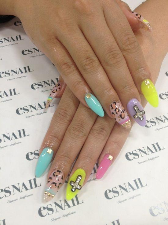 Nail #nail #unhas #unha #nails #unhasdecoradas #nailart #pastel #oncinha #leopard #cross #cruz