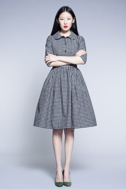 Vintage inspired gingham dress
