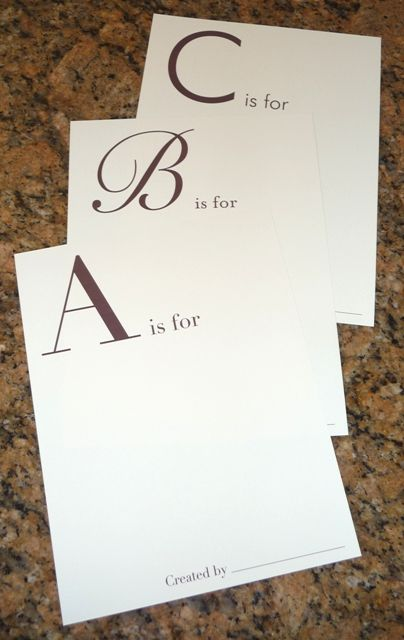 guests can make the baby an alphabet scrapbook [baby shower]