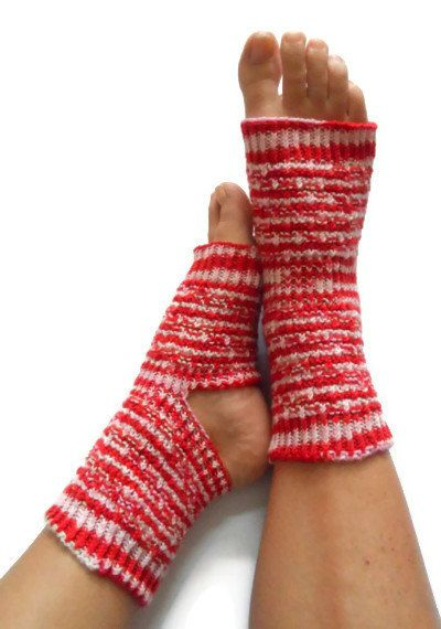 Yoga Socks Hand Knit in Red White and Pink by MadebyMegShop, $35.00