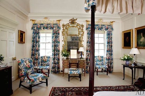 Dumfries House in Scotland - bedroom   decorated with Clarence House chintz