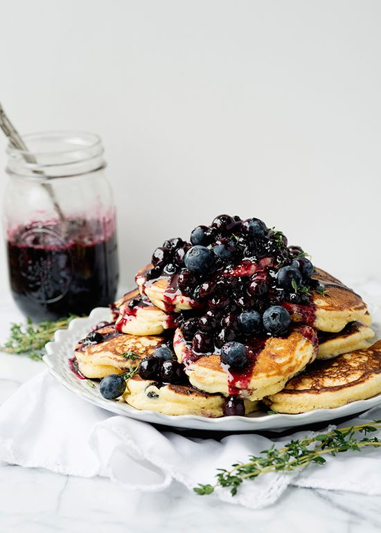 Lemon Thyme Pancakes with Blueberry Sauce