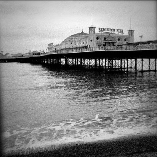 Brighton England pier black and white seaside resort by bomobob, $20.00