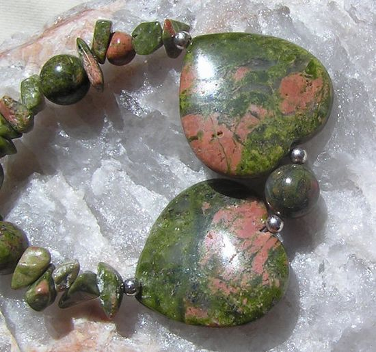 Unakite Double Heart Gemstone Crystal Necklace  by SunnyCrystals, $20.00